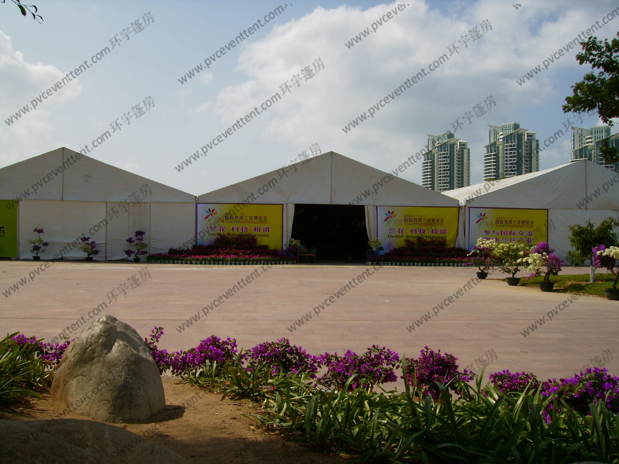 Large French Windows Outdoor Exhibition Canopy Tent PVC Fabric 18 x 33m Aluminum Frame