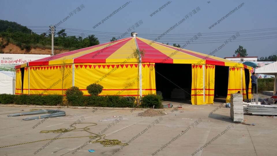 Yellow And Red Pagoda Party Tent PVC Cover φ30m Aluminum High Peak Multi Sides